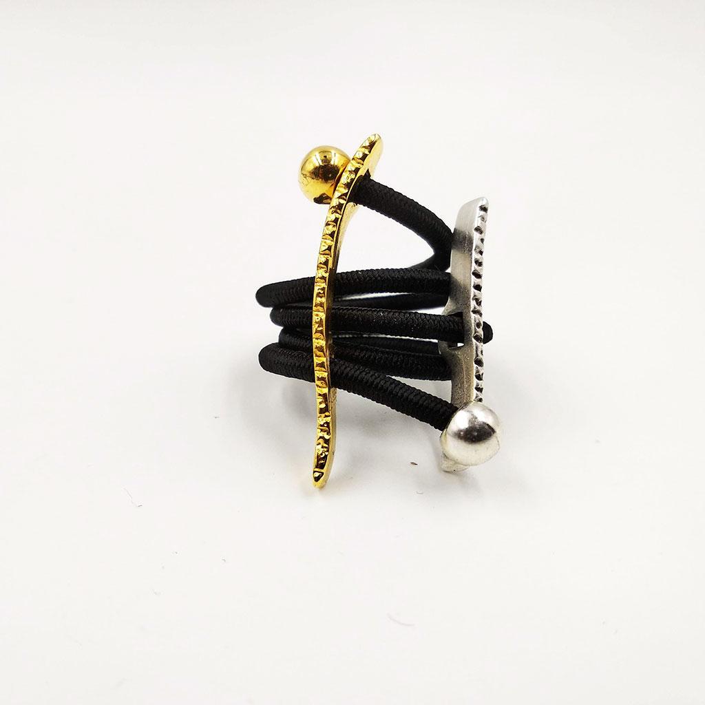 CHRISTINA BRAMPTI Go with the flow elastic cords ring (black)