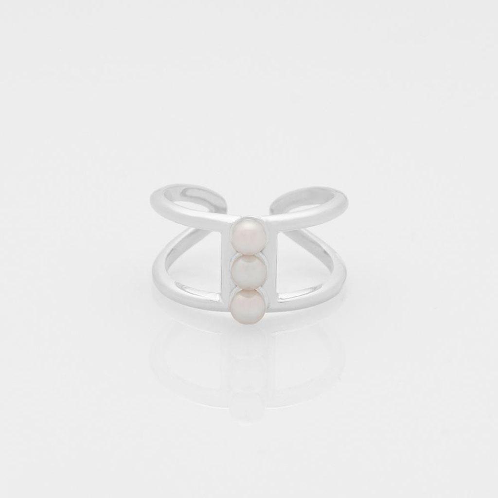 ΠΡΙΓΚΙΠΩ Free the Pearls triple δαχτυλίδι ασημί