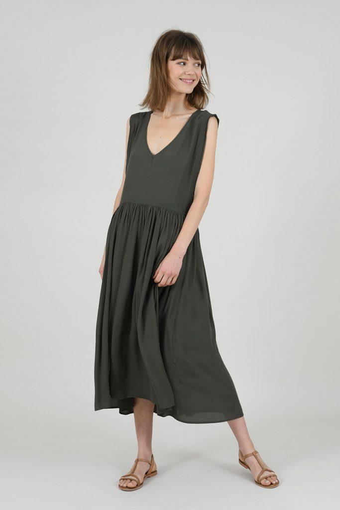 LILI SIDONIO Woven Dress Khaki